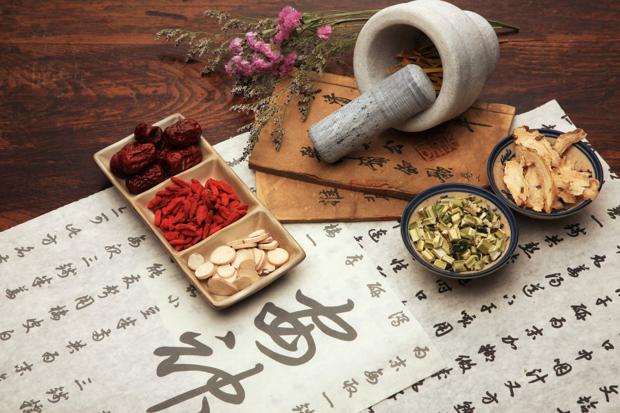 Chinese Herbal medicine & pestle