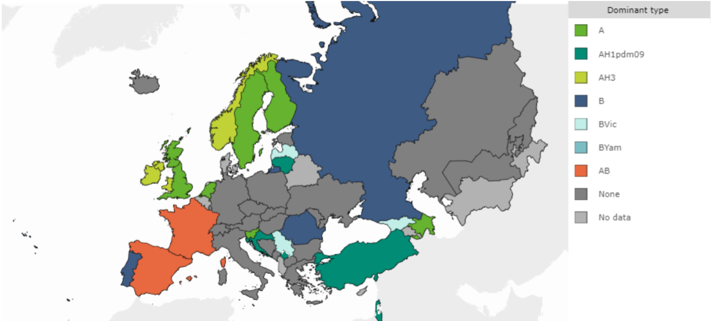 map of the prevalent WHO strains of influenza virus in European Region