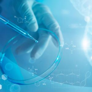 Science and medicine, scientist analyzing and dropping a sample into a glassware, experiments containing chemical liquid in laboratory on glassware, DNA structure, innovative and technology.