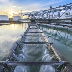 Water Treatment Plant process at sunset