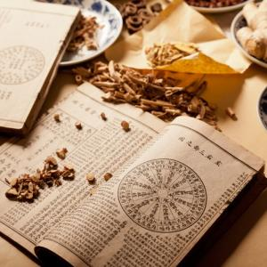 Ancient Chinese medical books in the Qing Dynasty, the Chinese herbal medicine on the table
