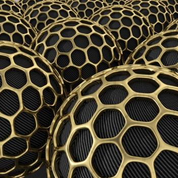 Carbon nanoparticles with gold mesh