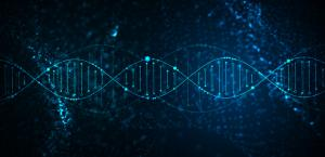Science template, abstract background with a 3D DNA molecules